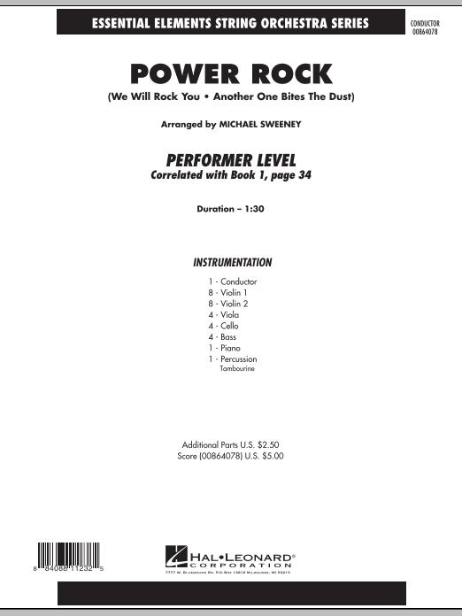 Power Rock (COMPLETE) sheet music for orchestra by Michael Sweeney and Queen. Score Image Preview.