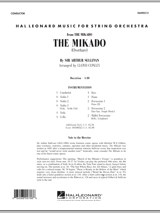 The Mikado (Overture) (COMPLETE) sheet music for orchestra by Lloyd Conley and Arthur Sullivan. Score Image Preview.