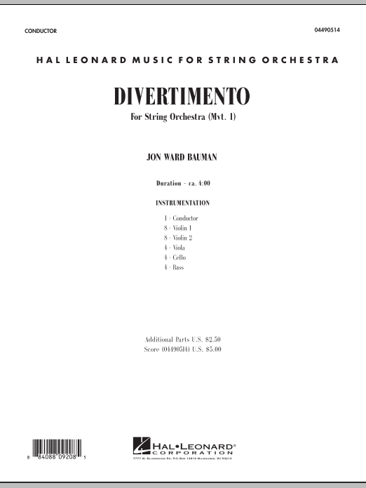 Divertimento for String Orchestra (Mvt. 1) (COMPLETE) sheet music for orchestra by Jon Ward Bauman. Score Image Preview.