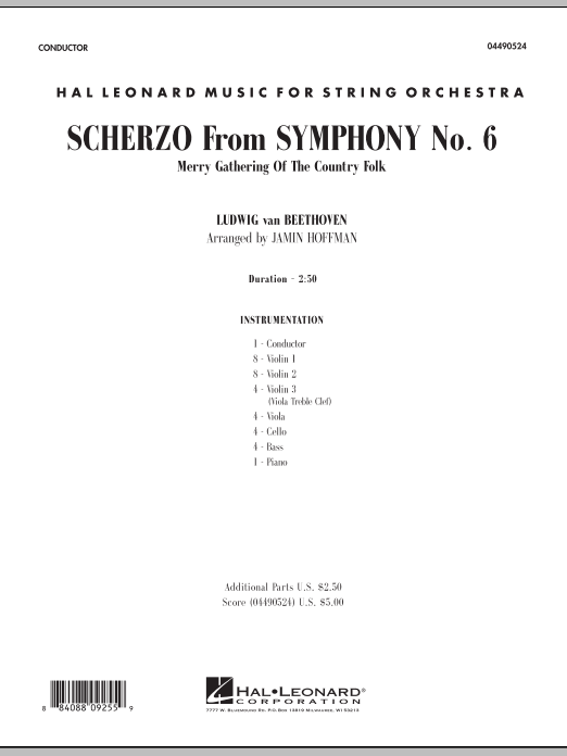 Scherzo (from Symphony No. 6) (COMPLETE) sheet music for orchestra by Jamin Hoffman and Ludwig van Beethoven. Score Image Preview.