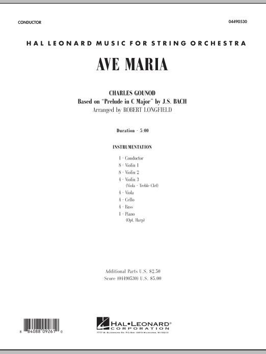 Ave Maria (COMPLETE) sheet music for orchestra by Johann Sebastian Bach, Charles Gounod and Robert Longfield. Score Image Preview.