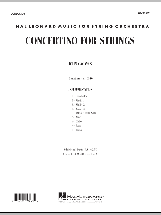 Concertino For Strings (COMPLETE) sheet music for orchestra by John Cacavas. Score Image Preview.
