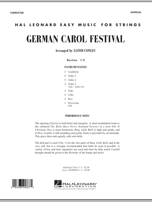 German Carol Festival (COMPLETE) sheet music for orchestra by Lloyd Conley. Score Image Preview.