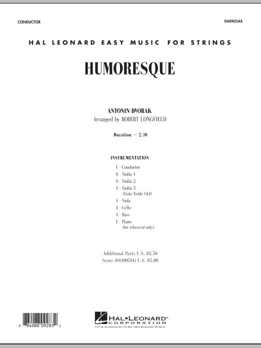 Humoresque (COMPLETE) sheet music for orchestra by Robert Longfield and Antonin Dvorak. Score Image Preview.
