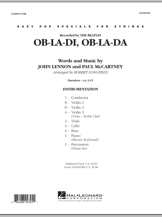 Ob-La-Di, Ob-La-Da (COMPLETE) sheet music for orchestra by Robert Longfield, The Beatles, John Lennon and Paul McCartney. Score Image Preview.