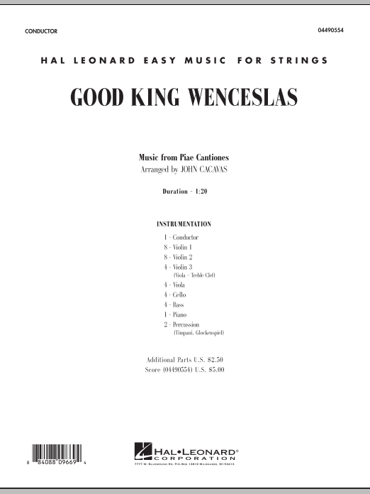 Good King Wenceslas (COMPLETE) sheet music for orchestra by John Cacavas, John Mason Neale and Piae Cantiones. Score Image Preview.