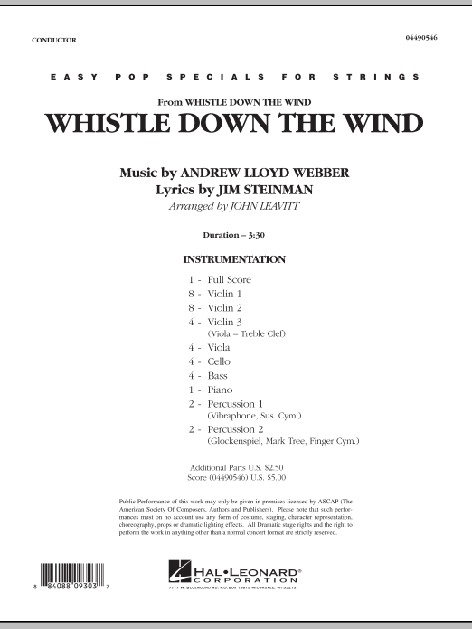 Whistle Down The Wind (COMPLETE) sheet music for orchestra by Andrew Lloyd Webber, Jim Steinman and John Leavitt. Score Image Preview.