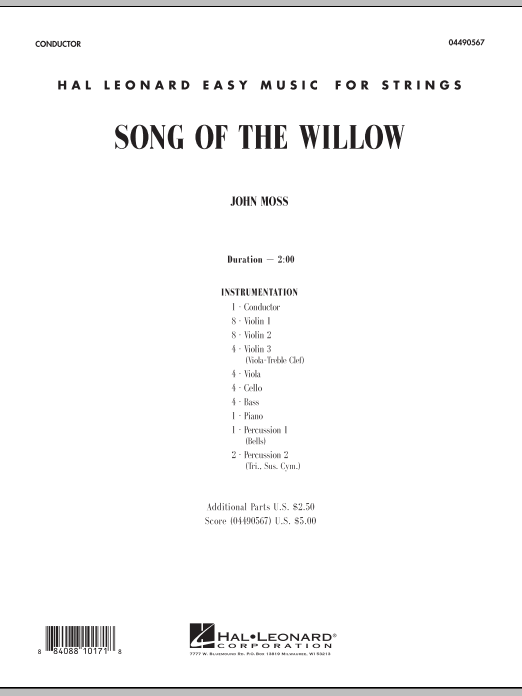 Song Of The Willow (COMPLETE) sheet music for orchestra by John Moss. Score Image Preview.