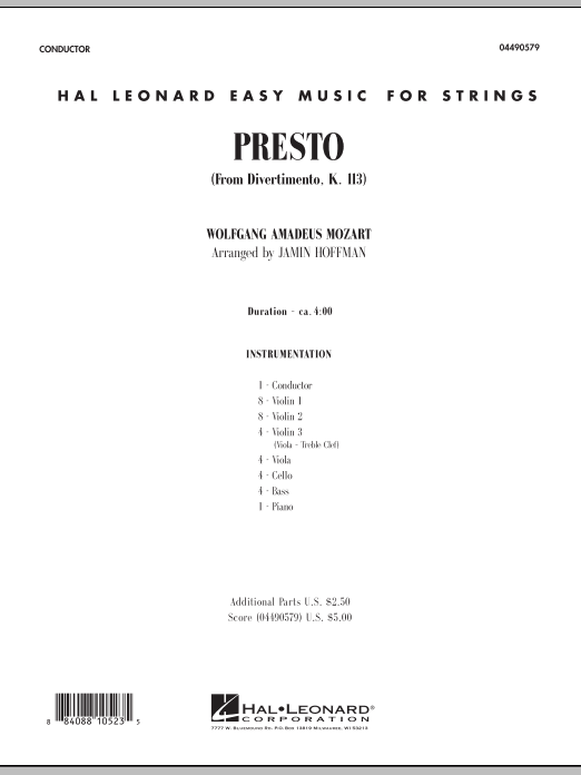 Presto (from Divertimento, K.113) (COMPLETE) sheet music for orchestra by Wolfgang Amadeus Mozart and Jamin Hoffman. Score Image Preview.