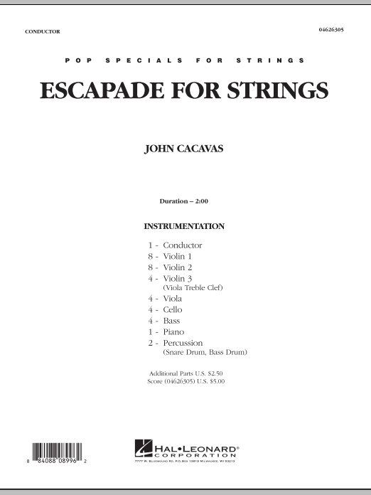 Escapade for Strings (COMPLETE) sheet music for orchestra by John Cacavas. Score Image Preview.