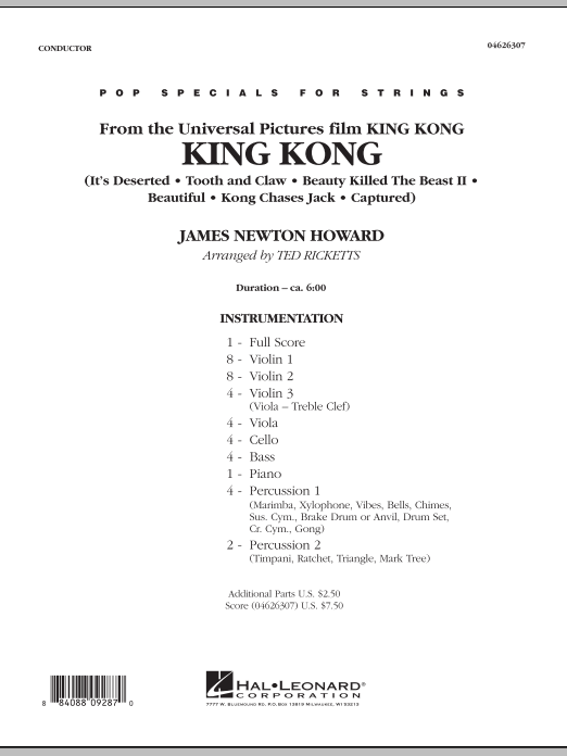King Kong (COMPLETE) sheet music for orchestra by James Newton Howard and Ted Ricketts. Score Image Preview.