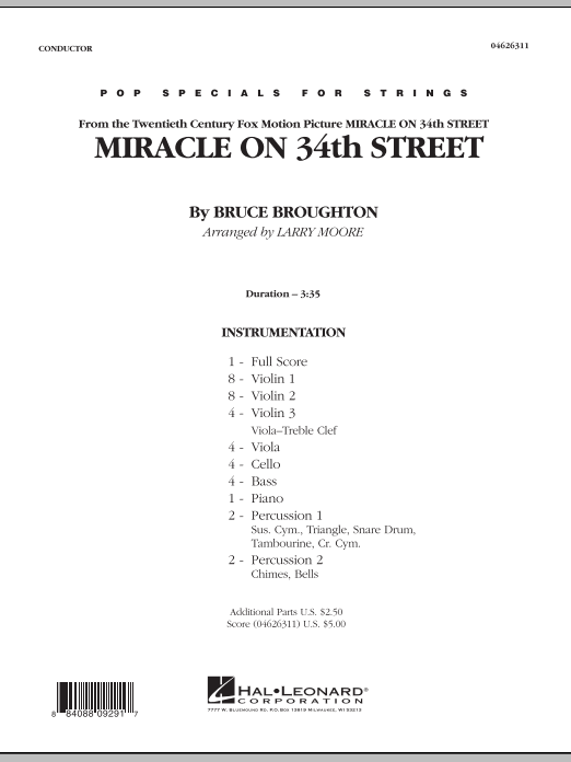 Miracle On 34th Street (COMPLETE) sheet music for orchestra by Bruce Broughton and Larry Moore. Score Image Preview.