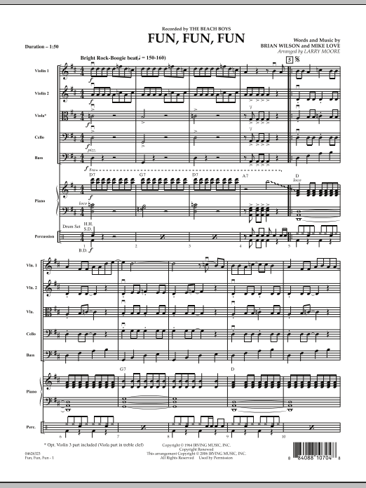 Fun, Fun, Fun (COMPLETE) sheet music for orchestra by Larry Moore, Brian Wilson, Mike Love and The Beach Boys. Score Image Preview.