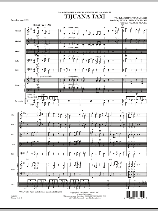 Tijuana Taxi (COMPLETE) sheet music for orchestra by Larry Moore and Herb Alpert & The Tijuana Brass Band. Score Image Preview.