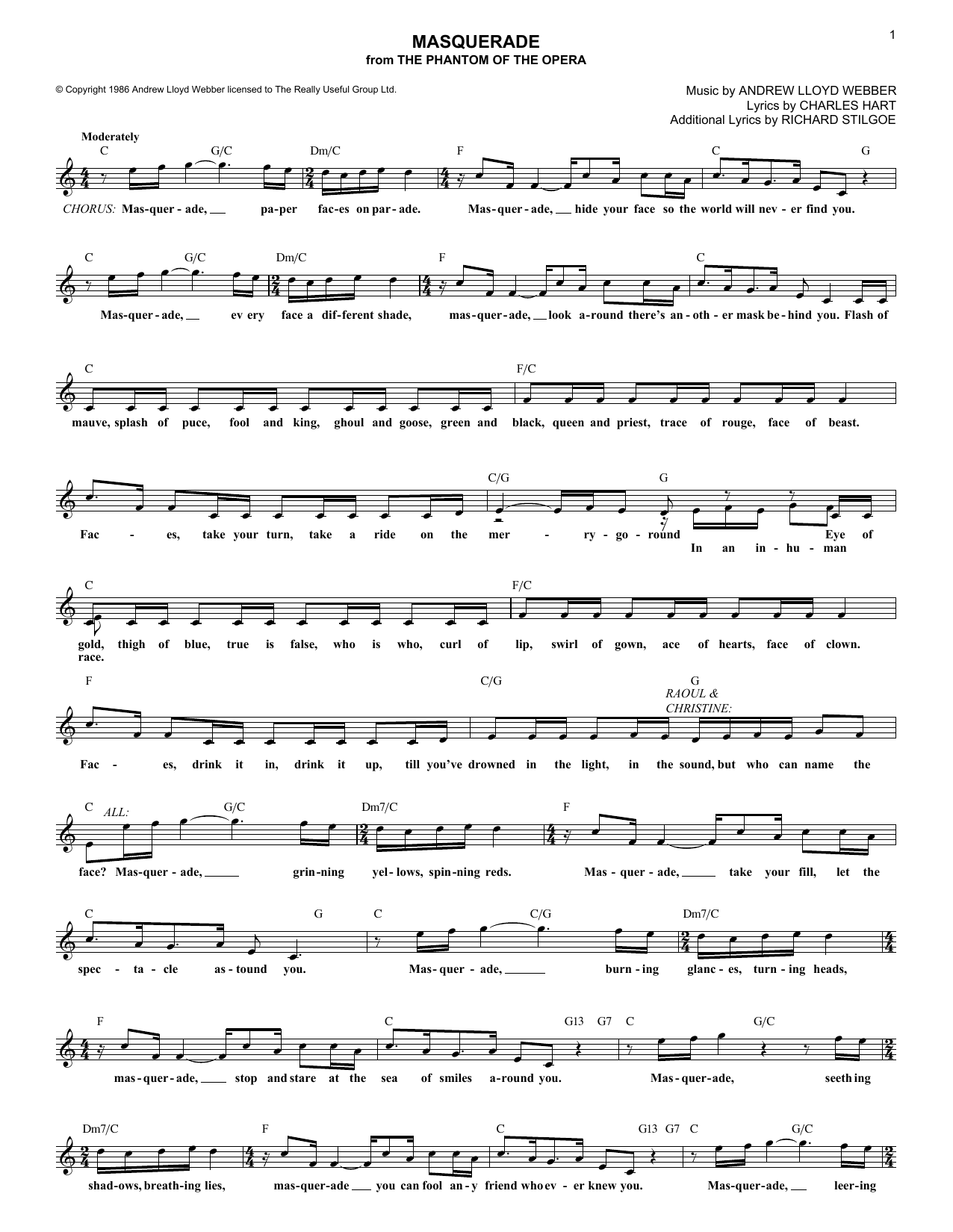 Masquerade (from The Phantom Of The Opera) (Lead Sheet / Fake Book)
