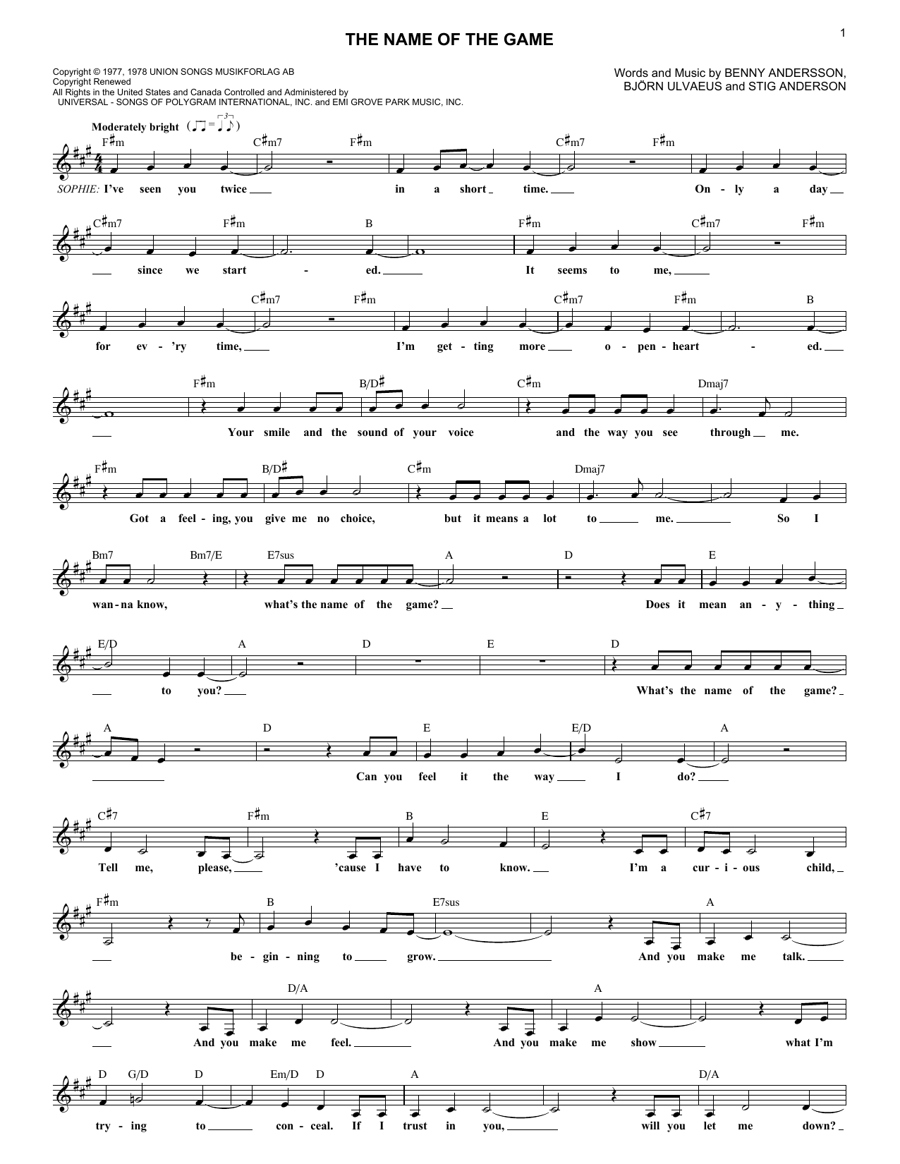 The Name Of The Game (Lead Sheet / Fake Book)
