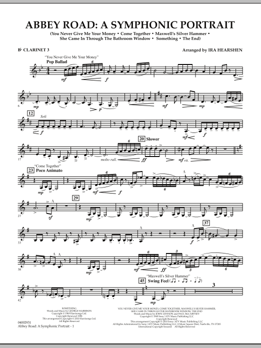 Abbey Road - A Symphonic Portrait - Bb Clarinet 3 (Concert Band)