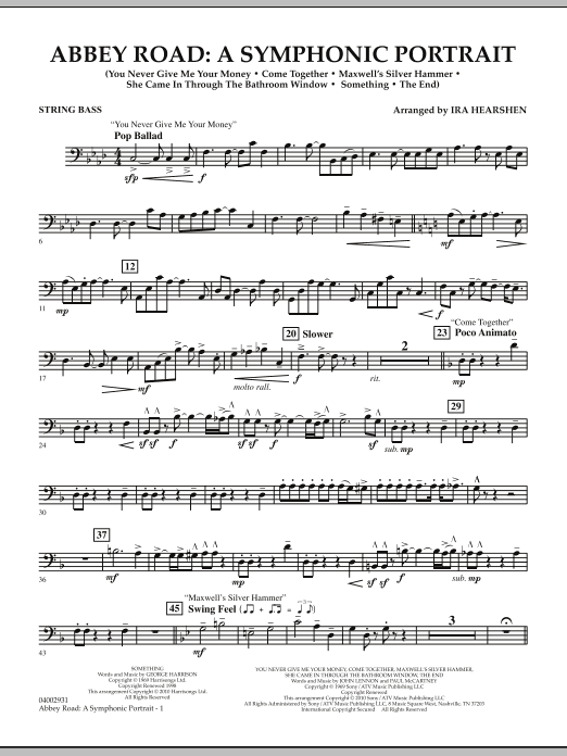 Abbey Road - A Symphonic Portrait - String Bass (Concert Band)