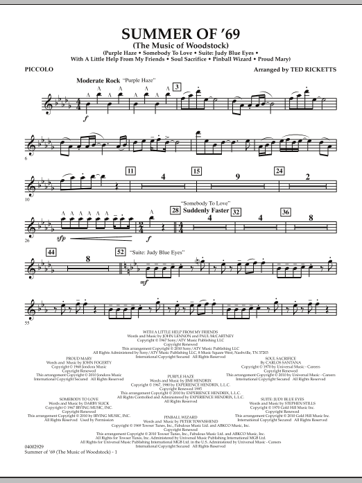 Summer Of '69 (The Music Of Woodstock) - Piccolo (Concert Band)