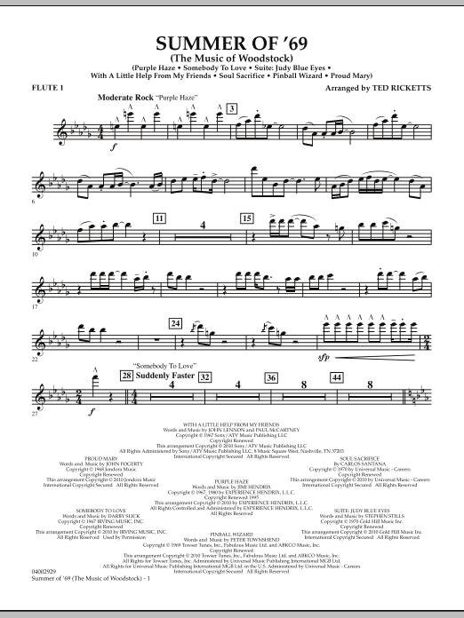 Summer Of '69 (The Music Of Woodstock) - Flute 1 (Concert Band)