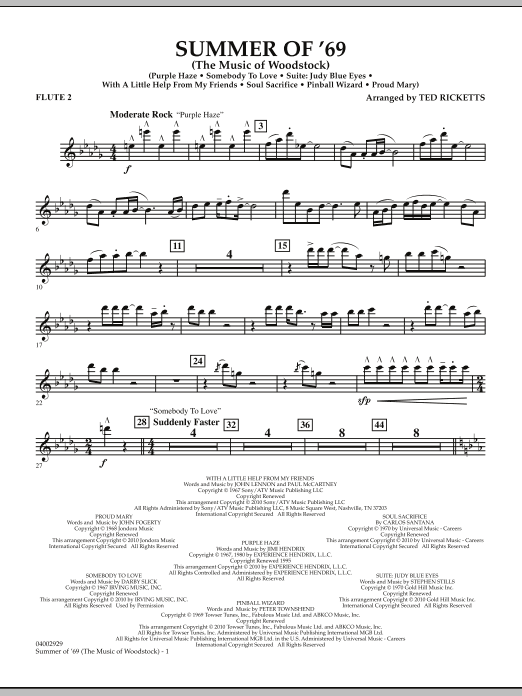 Summer Of '69 (The Music Of Woodstock) - Flute 2 (Concert Band)