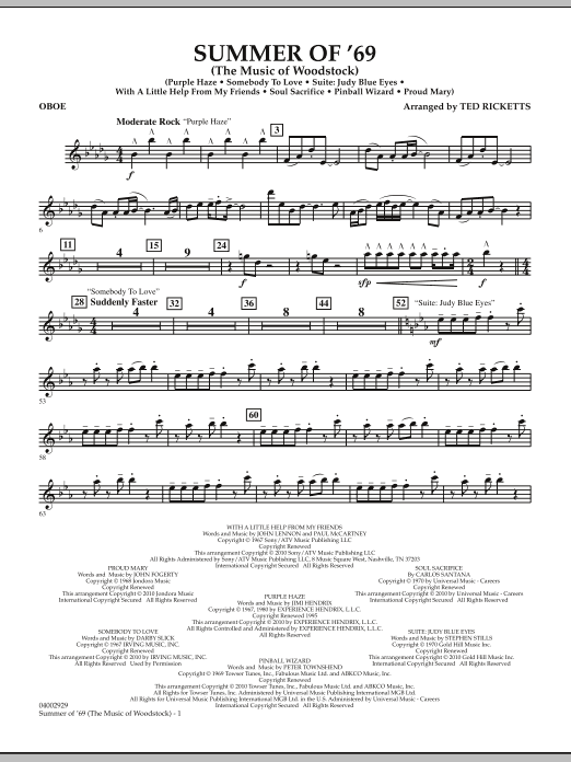 Summer Of '69 (The Music Of Woodstock) - Oboe (Concert Band)