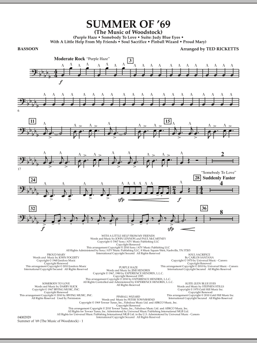 Summer Of '69 (The Music Of Woodstock) - Bassoon (Concert Band)