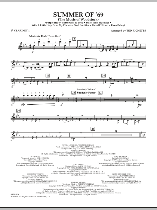 Summer Of '69 (The Music Of Woodstock) - Bb Clarinet 1 (Concert Band)