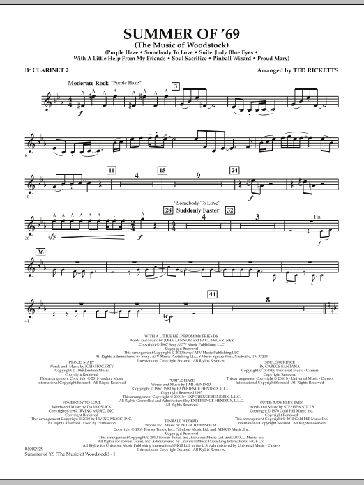 Summer Of '69 (The Music Of Woodstock) - Bb Clarinet 2 (Concert Band)