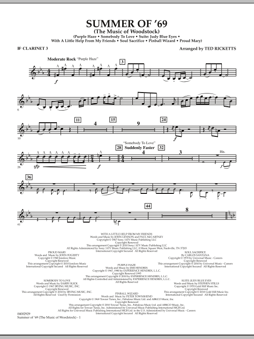 Summer Of '69 (The Music Of Woodstock) - Bb Clarinet 3 (Concert Band)