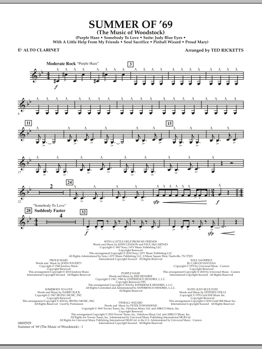 Summer Of '69 (The Music Of Woodstock) - Eb Alto Clarinet (Concert Band)