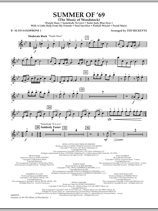 Summer Of '69 (The Music Of Woodstock) - Eb Alto Saxophone 1 (Concert Band)