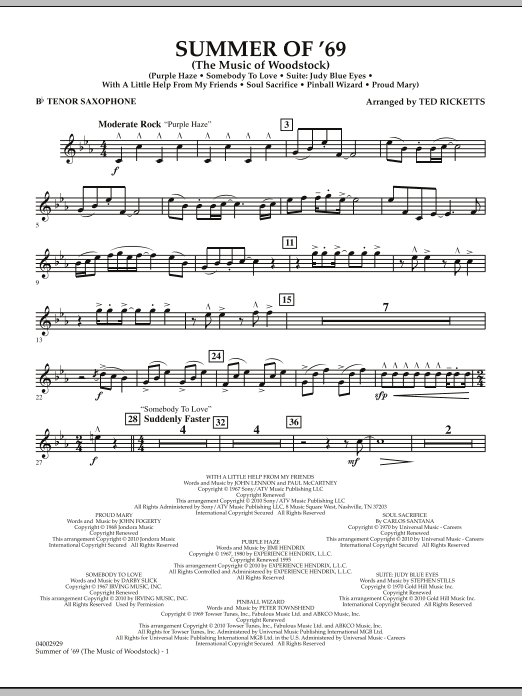 Summer Of '69 (The Music Of Woodstock) - Bb Tenor Saxophone (Concert Band)