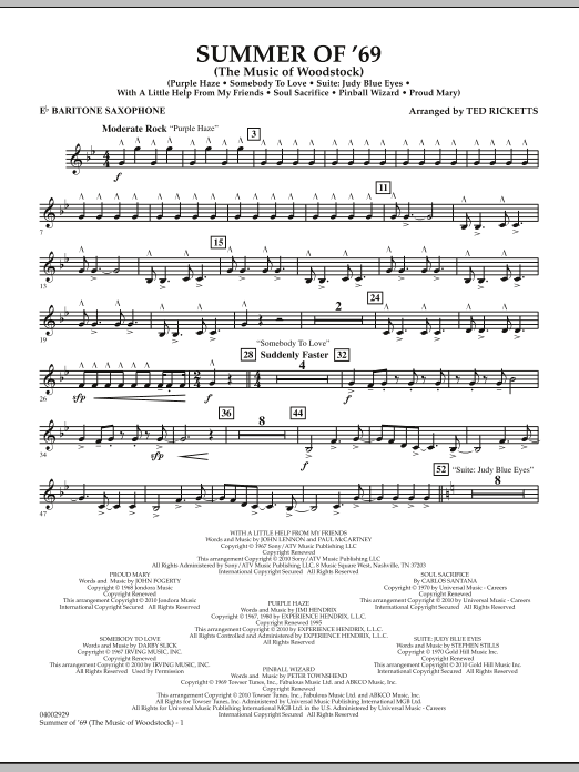 Summer Of '69 (The Music Of Woodstock) - Eb Baritone Saxophone (Concert Band)