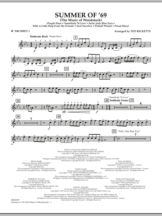 Summer Of '69 (The Music Of Woodstock) - Bb Trumpet 1 (Concert Band)