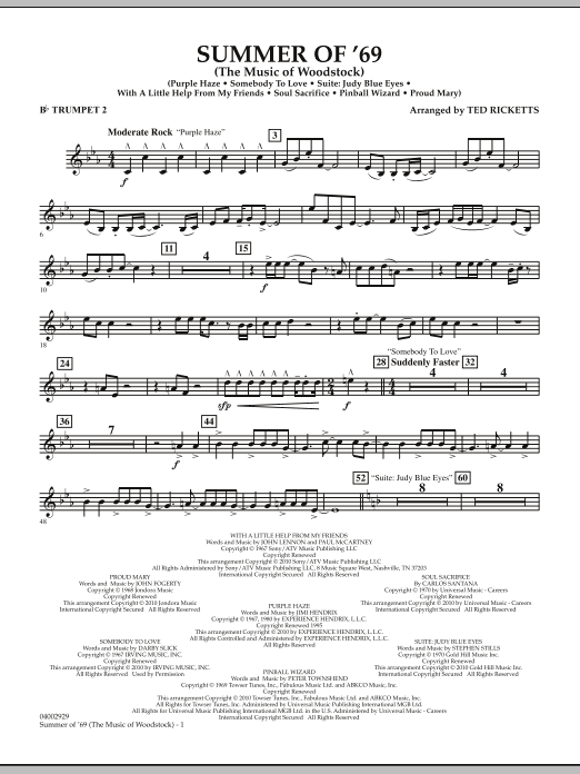 Summer Of '69 (The Music Of Woodstock) - Bb Trumpet 2 (Concert Band)
