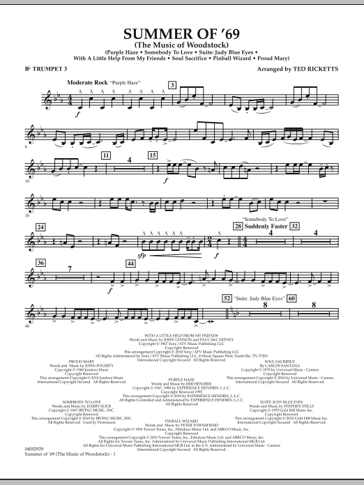 Summer Of '69 (The Music Of Woodstock) - Bb Trumpet 3 (Concert Band)