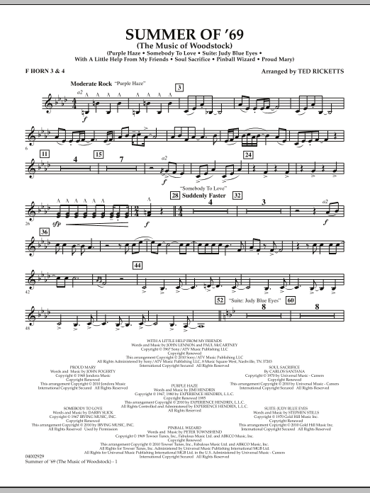 Summer Of '69 (The Music Of Woodstock) - F Horn 3 & 4 (Concert Band)