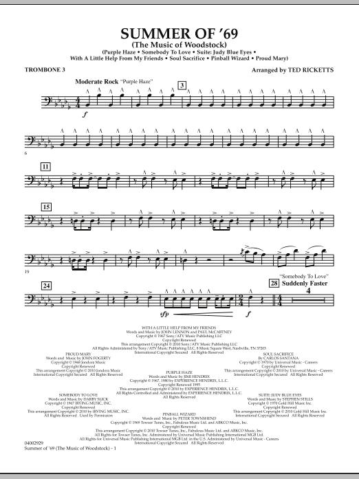 Summer Of '69 (The Music Of Woodstock) - Trombone 3 (Concert Band)