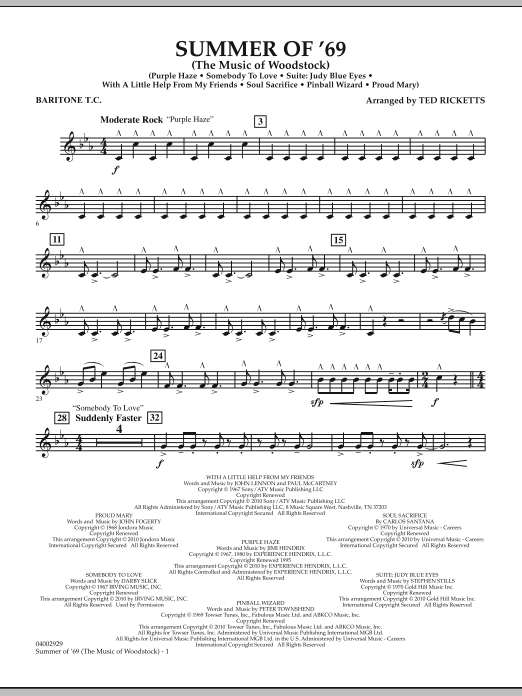 Summer Of '69 (The Music Of Woodstock) - Baritone T.C. (Concert Band)