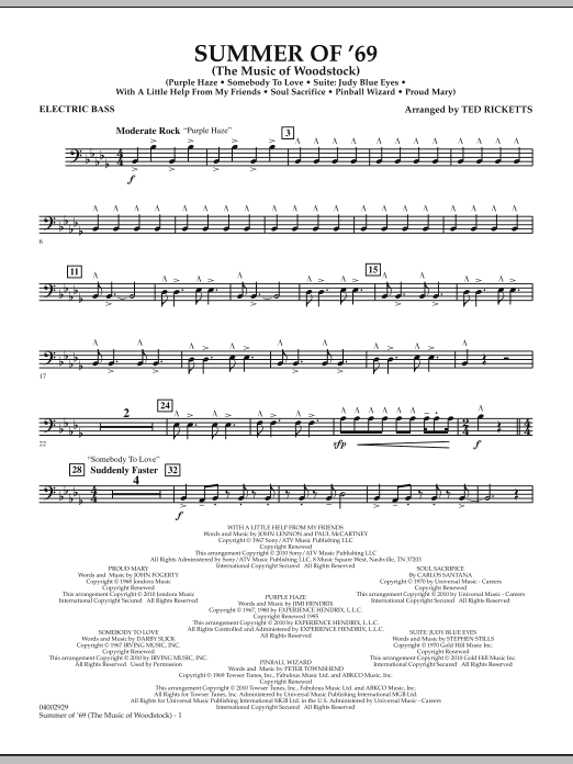 Summer Of '69 (The Music Of Woodstock) - String Bass (Concert Band)