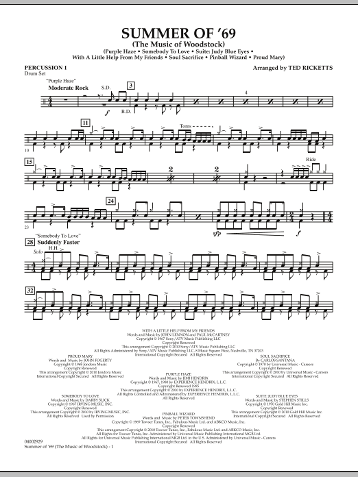 Summer Of '69 (The Music Of Woodstock) - Percussion 1 (Concert Band)
