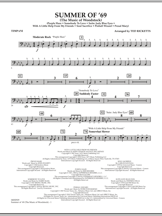 Summer Of '69 (The Music Of Woodstock) - Timpani (Concert Band)