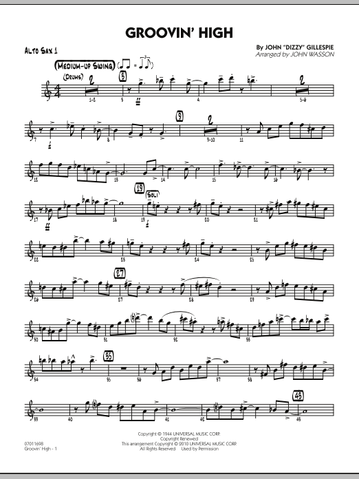 Groovin' High - Alto Sax 1 (Jazz Ensemble)