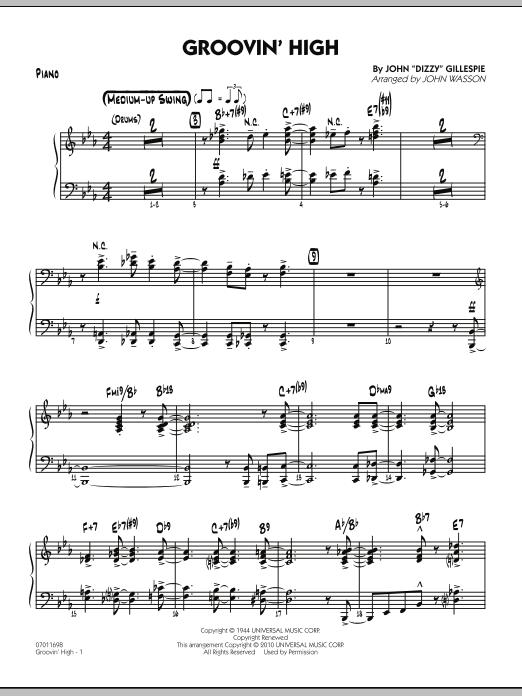 Groovin' High - Piano (Jazz Ensemble)
