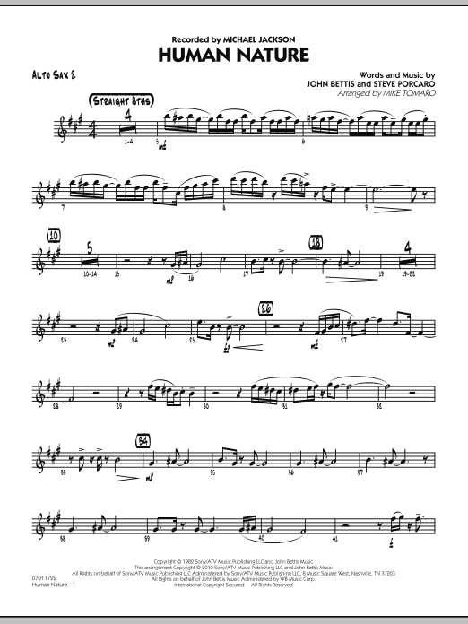 Human Nature Alto Sax 2 Sheet Music To Download