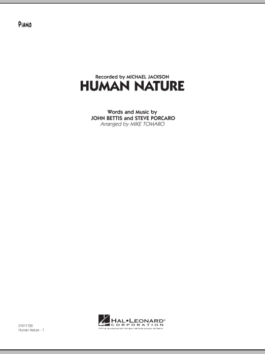 Human Nature - Piano (Jazz Ensemble)