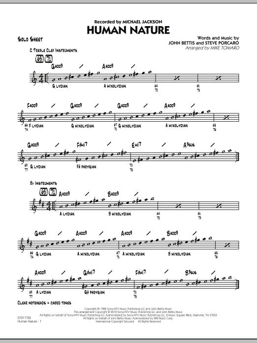 Human Nature - Solo Sheet (Jazz Ensemble)
