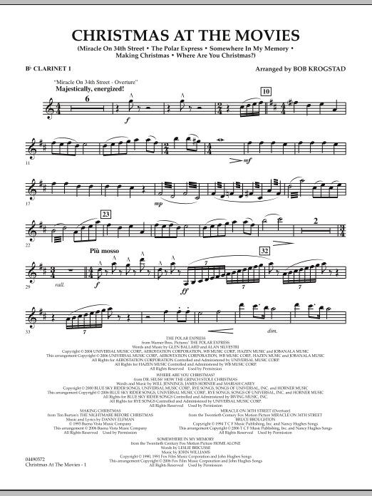 Christmas At The Movies - Bb Clarinet 1 (Full Orchestra)