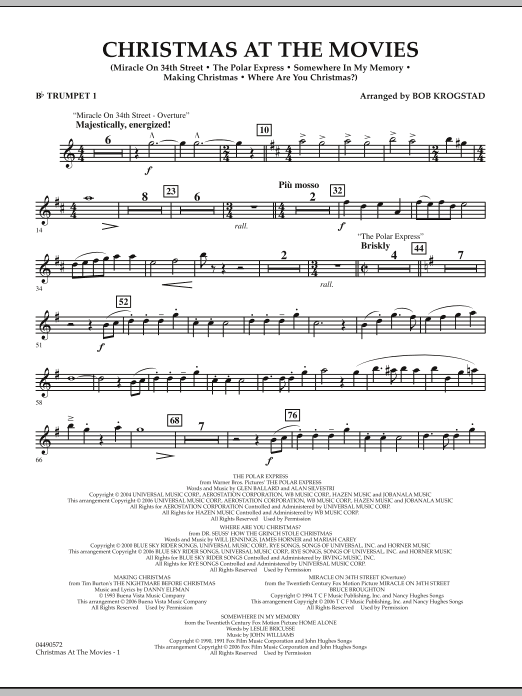 Christmas At The Movies - Bb Trumpet 1 (Full Orchestra)